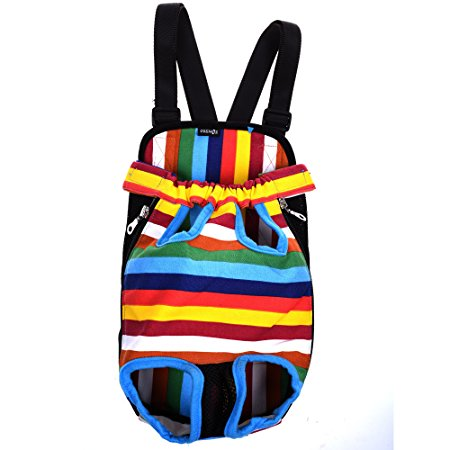 10. Cosmos Colorful Strip Pattern Pet Dogs Legs Out Front Carrier Bag