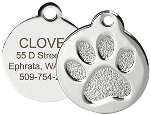 7. Paw Print Round Stainless Steel Pet ID Tags