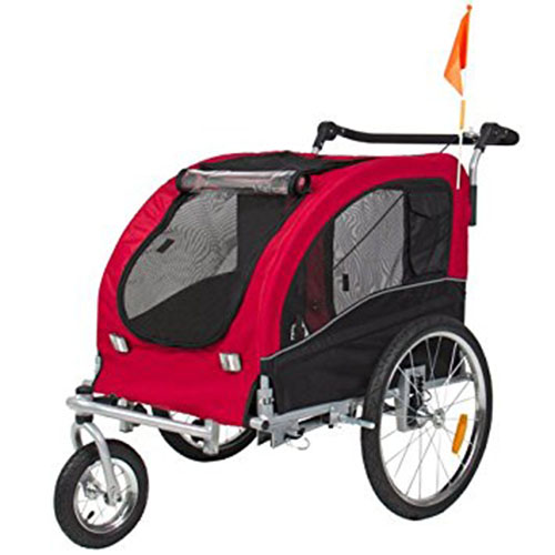 4. Best Choice Products 2 in 1 Pet Dog Bike Trailer Bicycle Trailer Stroller Jogger w/ Suspension Red