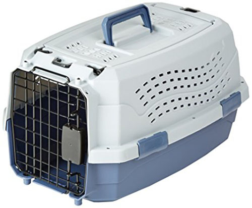 5. Amazon Basics Two-Door Top-Load Pet Kennel, 19-inch
