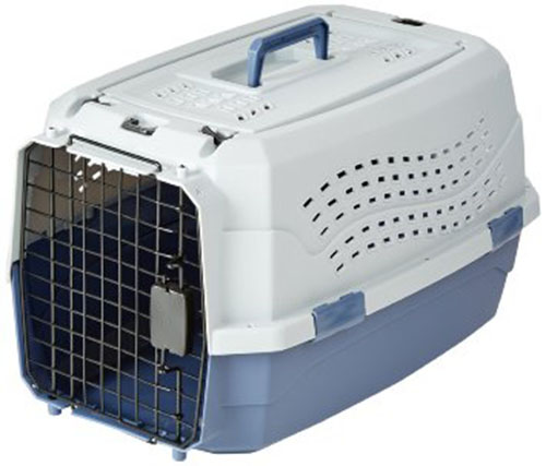 1. Amazon Basics Two-Door Top-Load Pet Kennel, 23-inch