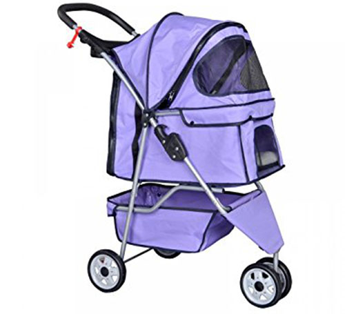 8. BestPet Purple Pet Stroller Cat Dog Cage 3 Wheels Stroller Travel Folding Carrier T13