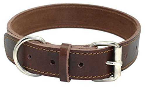 10. Beirui Brown Genuine Leather Dog Collars