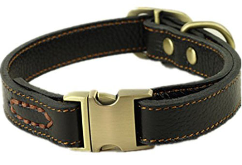8. CHEDE Luxury Real Leather Dog Collar