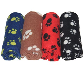 7. Lovely Pet Paw Prints Fleece Blankets for Dogs