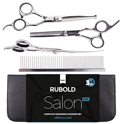 7. Professional Pet Grooming Scissors Set for Dogs and Cats by Rubold