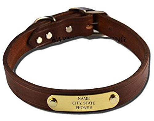 1. Warner Brand Cumberland Leather Dog Collar