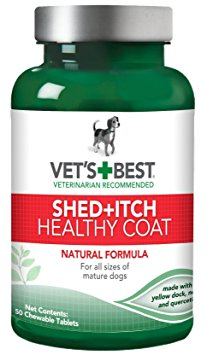2. Vet's Best Healthy Coat Shed & Itch Relief Dog Supplements, 50 Chewable Tablets