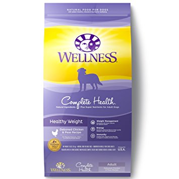 2. Wellness Complete Health Natural Dry Healthy Weight Dog Food, Chicken & Peas, 26-Pound Bag