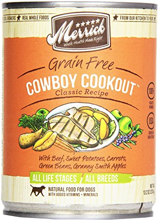 7. Merrick, Canned Dog Food, 5-Star Cowboy Cookout 13.2 oz.