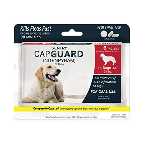 1. Sentry CapGuard (Nitenpyram) - for Dogs over- 25 lbs., 6 ct.