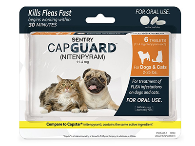6. SENTRY Capguard (nitenpyram) Oral Flea Tablets